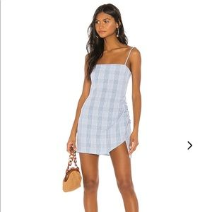 baby blue plaid mini dress with tags